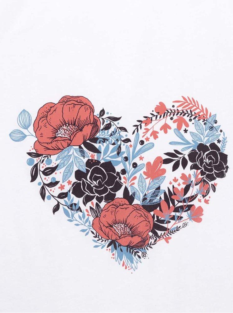 Tricou alb ZOOT Original Flower heart cu print
