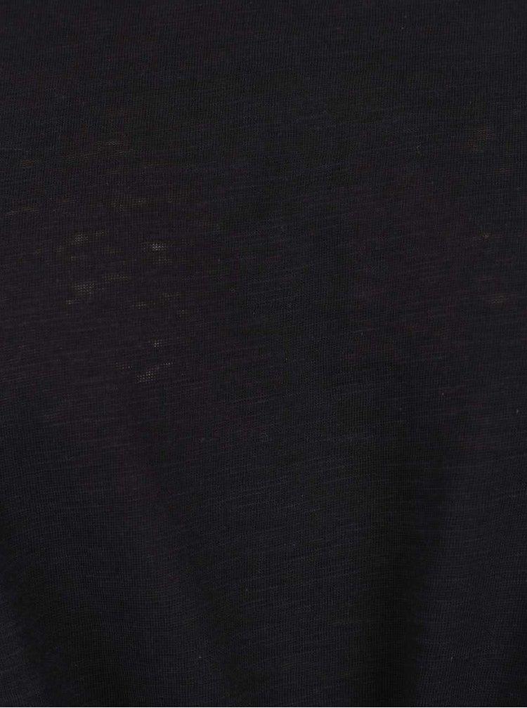 Tricou negru ONLY Kasia cu nod decorativ