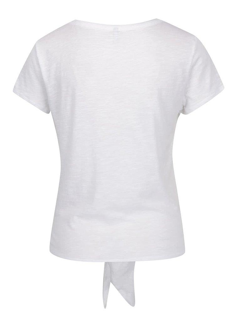 Tricou alb ONLY Kasia cu nod decorativ