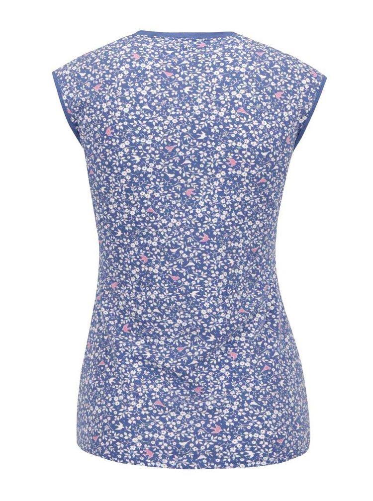 Tricou albastru Blutsgeschwister cu imprimeu floral