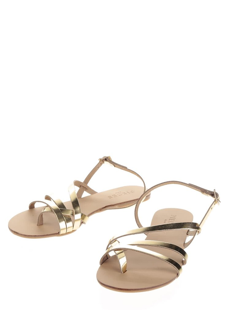 Sandale aurii Pieces Lavinia din piele