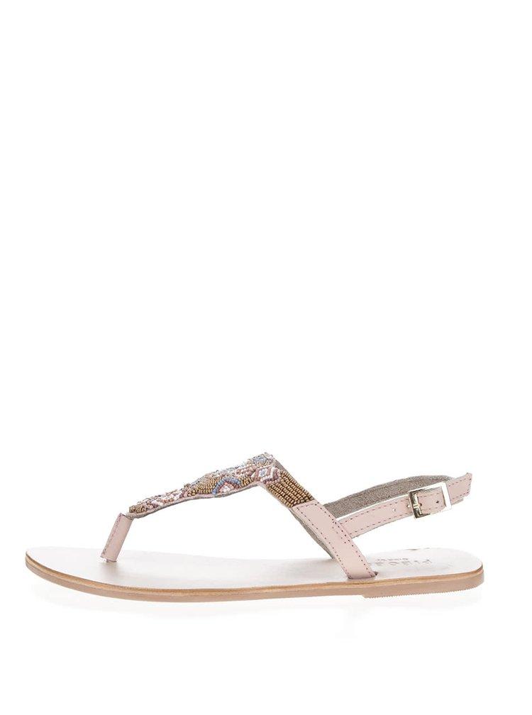 Světle růžové kožené sandály s korálky Pieces Carmen