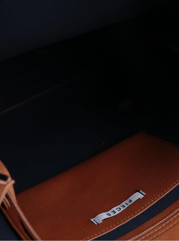Hnědá koženková kabelka Pieces Lulu