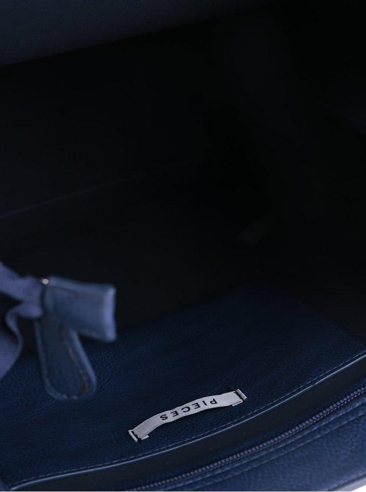 Tmavě modrá koženková kabelka Pieces Lulu