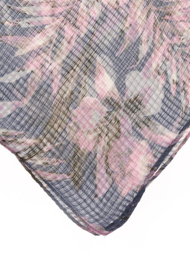 Esarfa roz&albastru Pieces Slate cu imprimeu floral