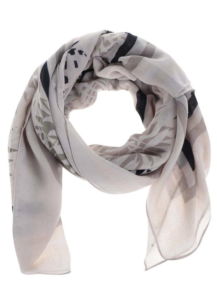 Krémový šátek s motivem listů Pieces Summer Bird