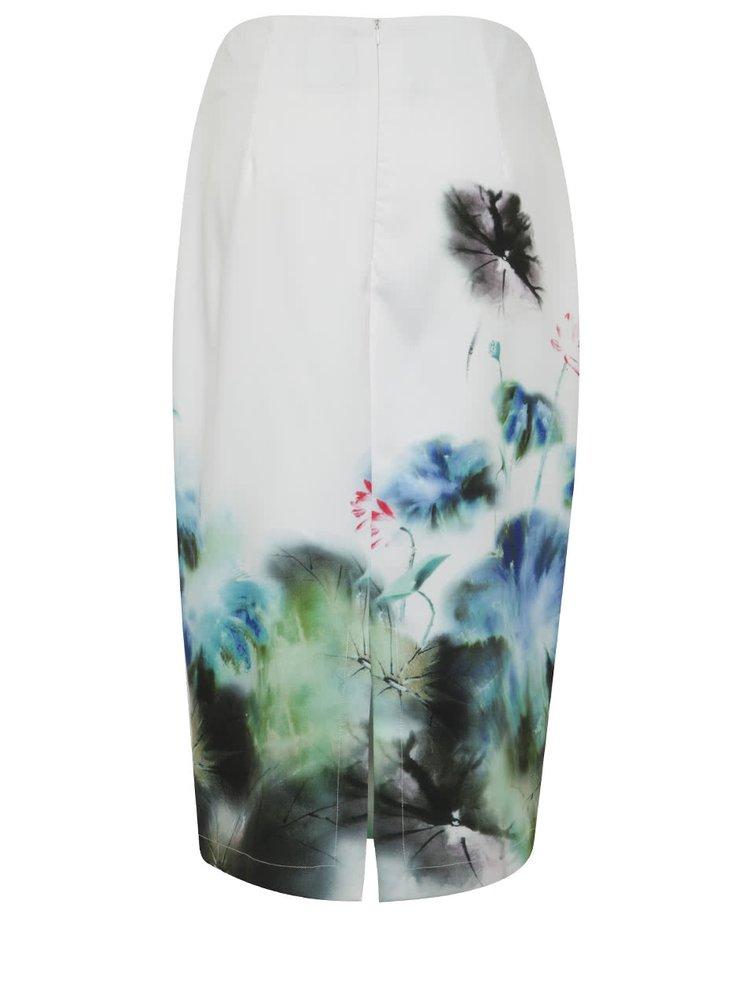 Bílá květovaná pouzdrová sukně Smashed Lemon