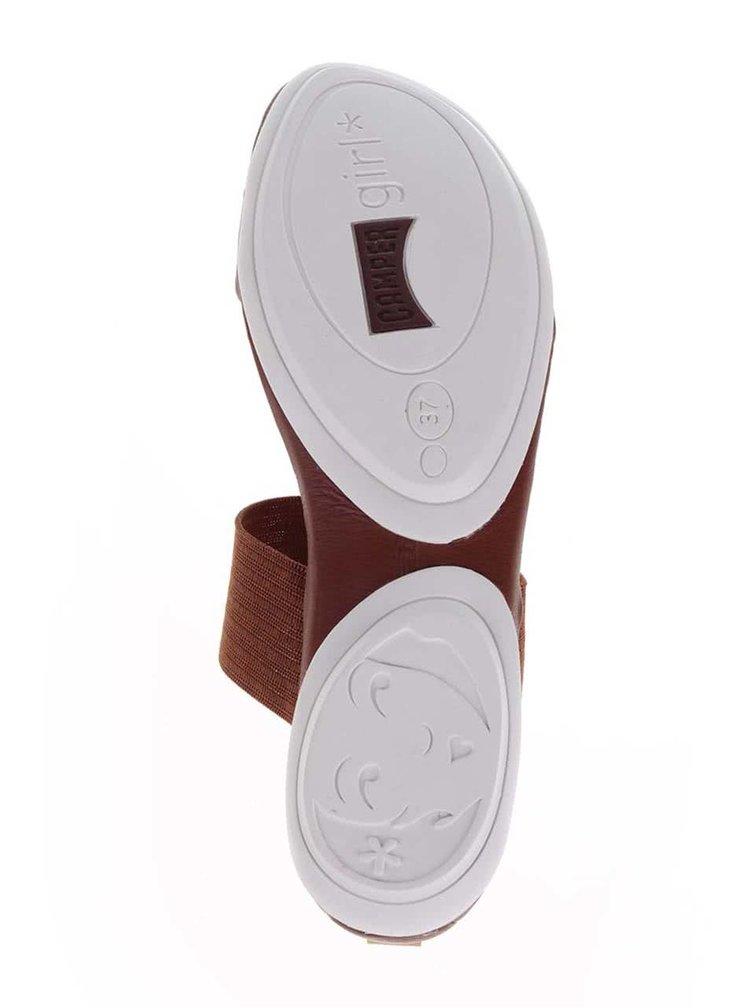 Hnědé dámské kožené sandály Camper