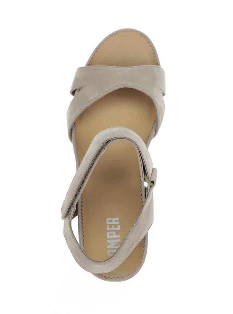 Světle zelené dámské kožené sandály na klínku Camper