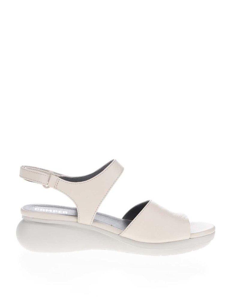 Krémové dámské kožené sandály na klínku Camper