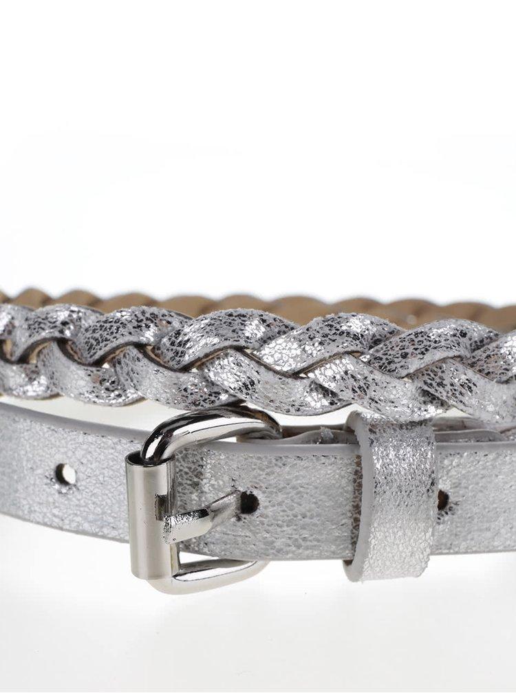 Pásek ve tvaru copu ve stříbrné barvě Pieces Saleema