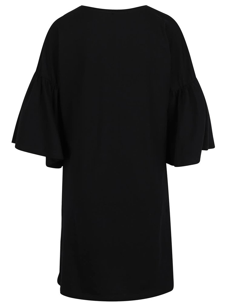 Černé volné šaty s volánovými rukávy VERO MODA Matti