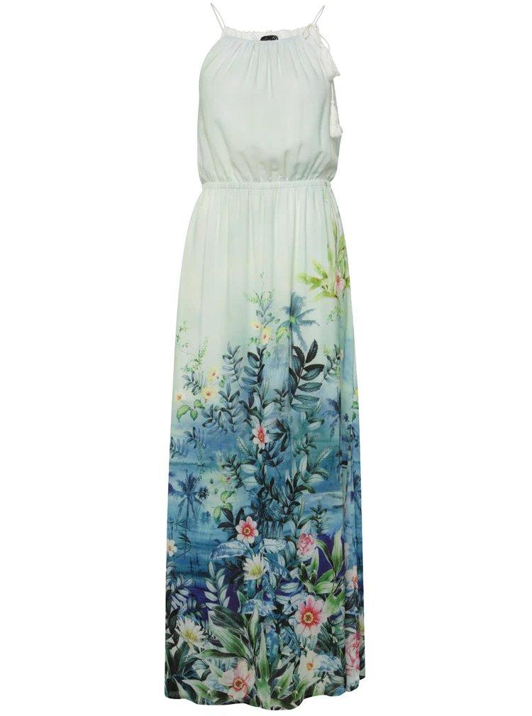 Rochie lungă verde mentă Smashed Lemon cu model floral