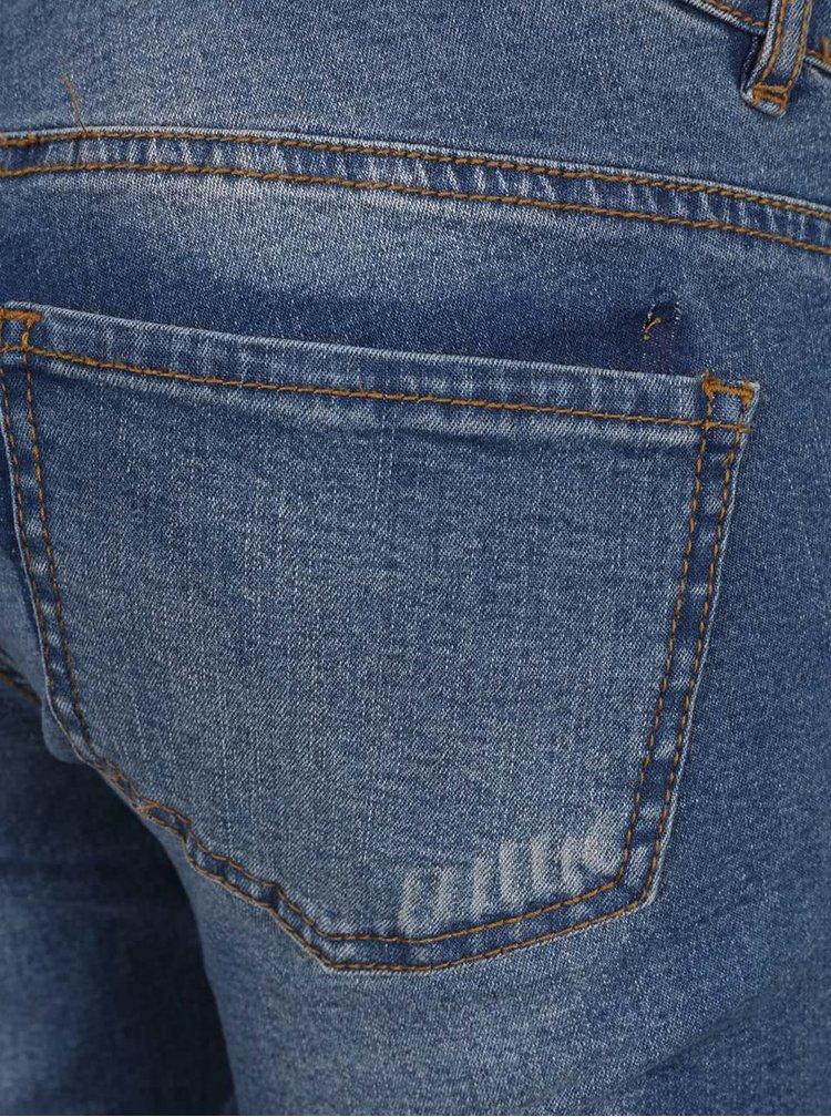 Bermude albastre din denim Mama.licious Scratch cu aplicatie elastica