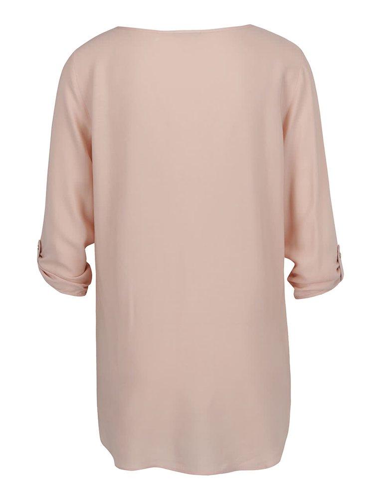 Bluză roz deschis VERO MODA Boca cu mâneci trei sferturi și tiv asimetric