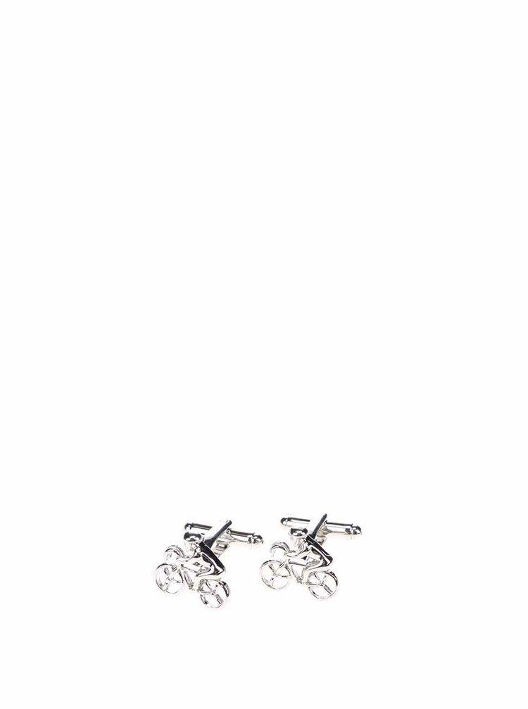 Manžetové knoflíčky ve stříbrné barvě ve tvaru cyklistů CGB