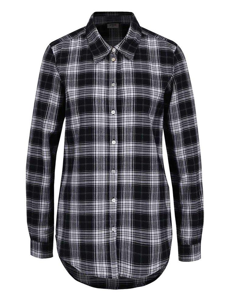 Bílo-černá flanelová kostkovaná košile VERO MODA Check
