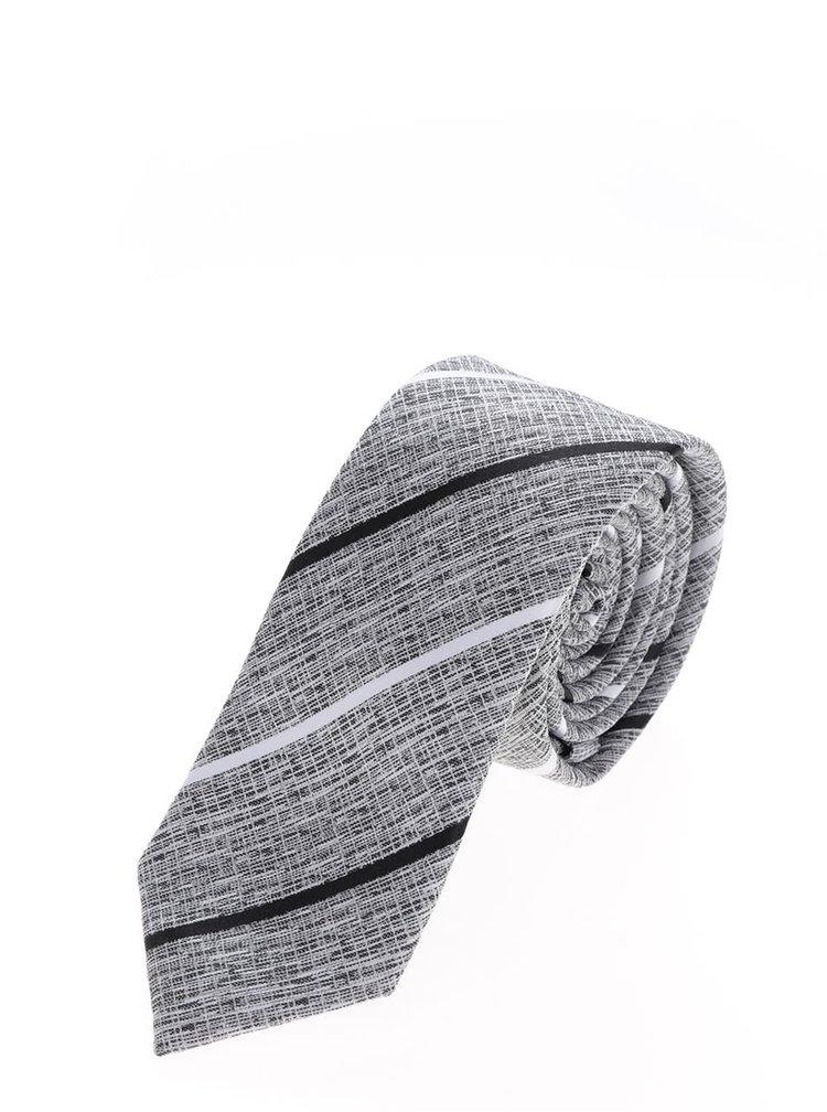 Šedá vzorovaná kravata s pruhy Selected Homme Neal