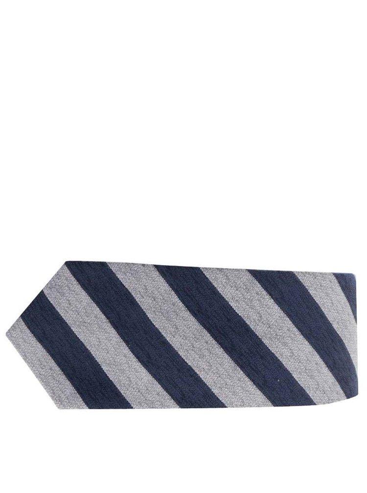 Cravată albstră&gri Selected Homme Neal cu model în dungi