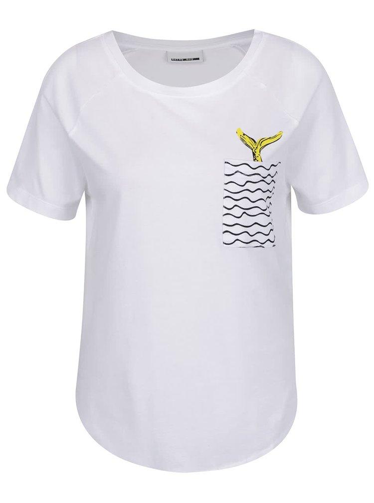 Bílé volné tričko s kapsou a potiskem Noisy May Mermaid