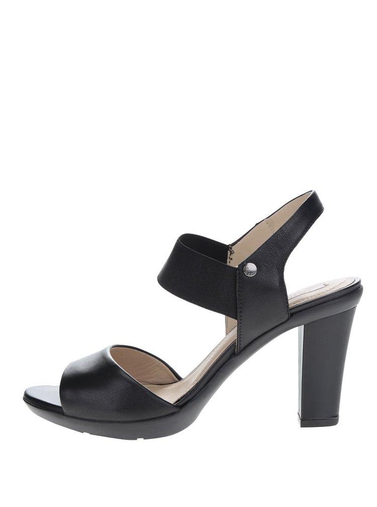Sandale negre din piele cu toc înalt Geox Jadalis