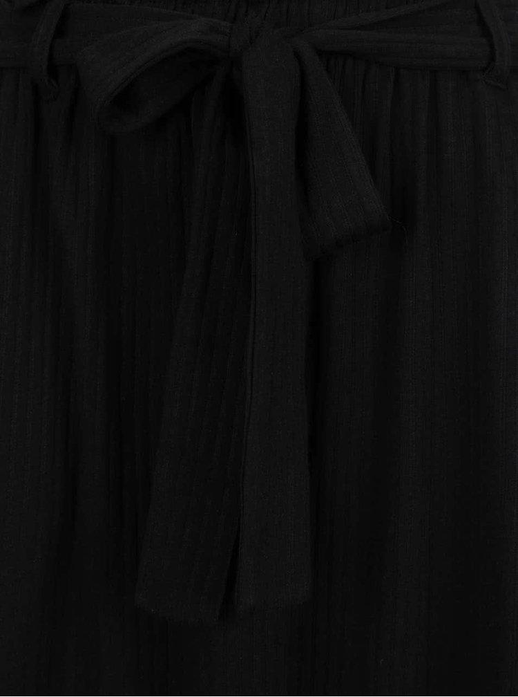 Fusta midi neagra VERO MODA Laura cu cordon in talie