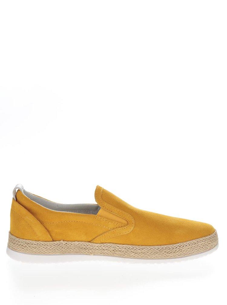 Žluté dámské semišové slip on Geox Maedrys