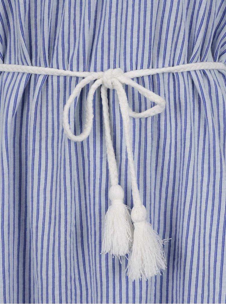 Bílo-modré pruhované šaty s odhalenými rameny VERO MODA Laura