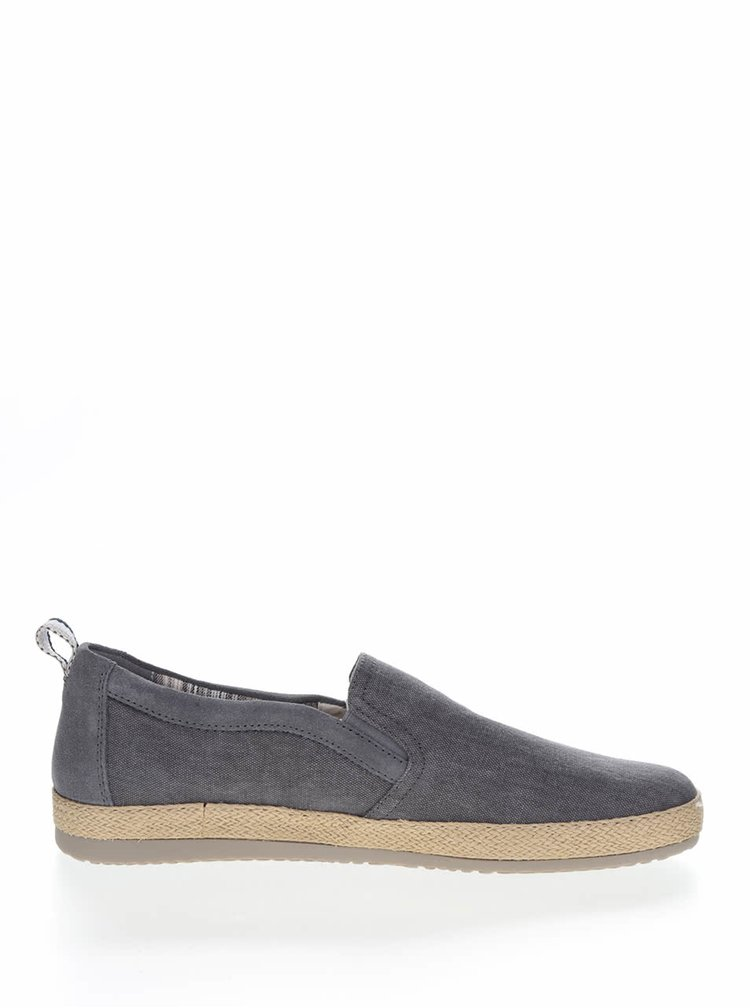 Tenisi slip on gri inchis Geox Copacabana cu aspect denim