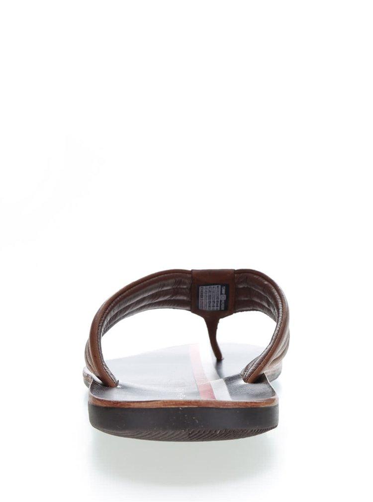 Pánské hnědé kožené žabky Tommy Hilfiger