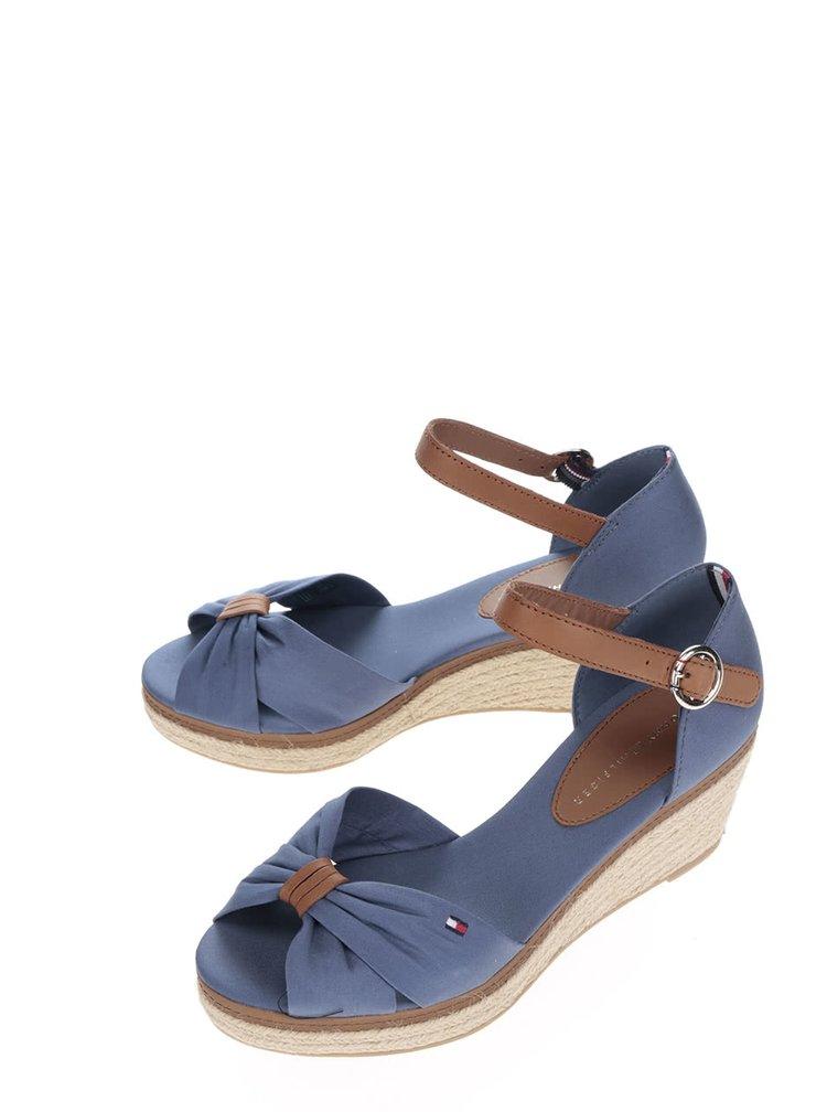 Světle modré dámské sandály na klínku Tommy Hilfiger