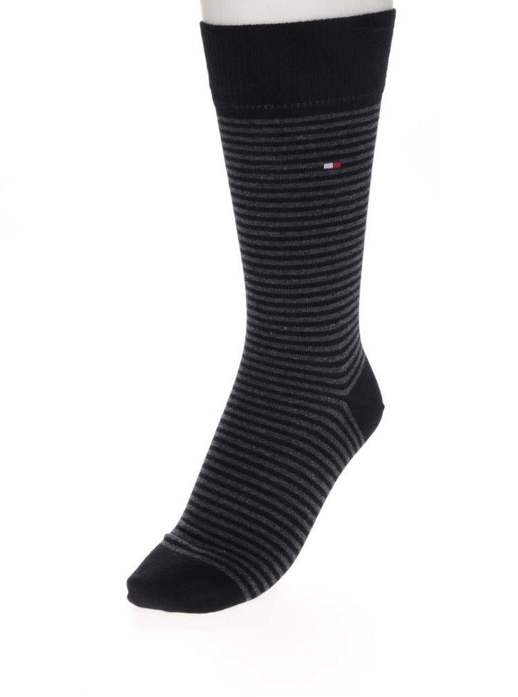 Sada dvou párů pánských pruhovaných ponožek v černé barvě Tommy Hilfiger