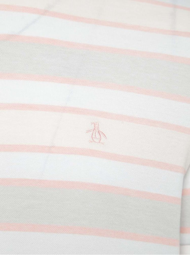 Oranžovo-bílé pruhované triko Original Penguin Birdseye