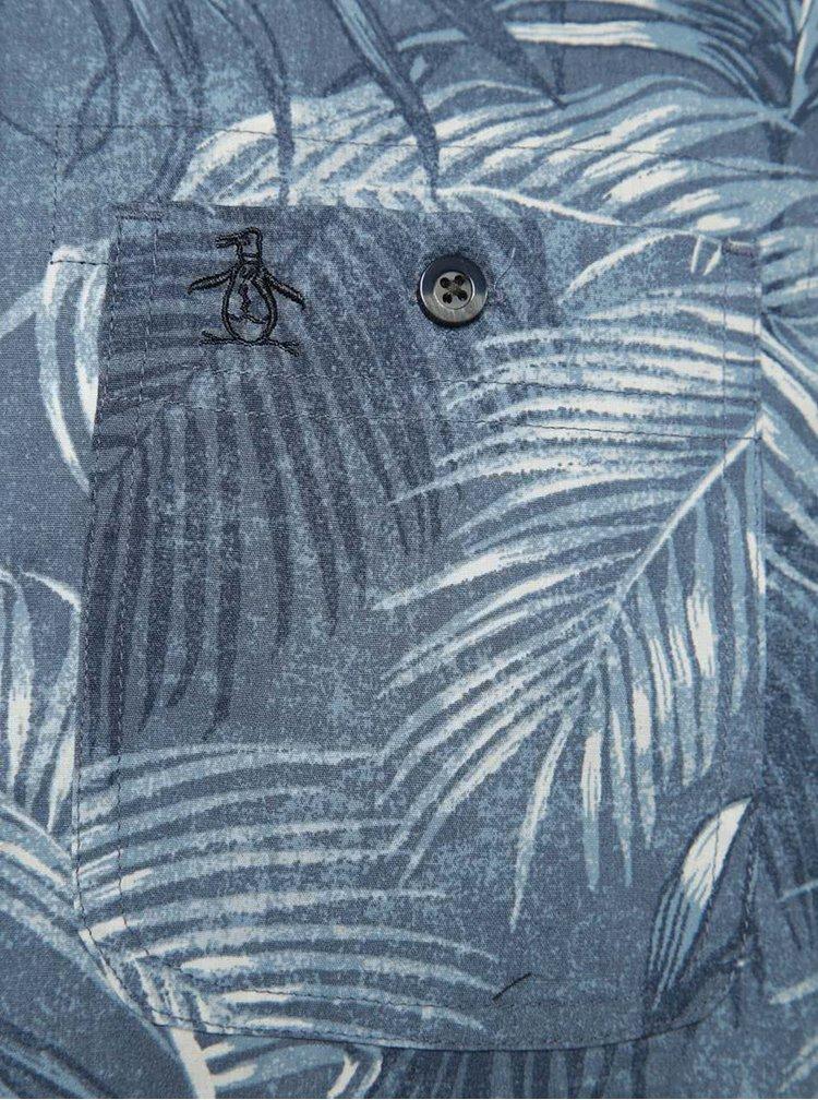 Cămașă albastră Original Penguin Fern din bumbac cu mâneci scurte și model