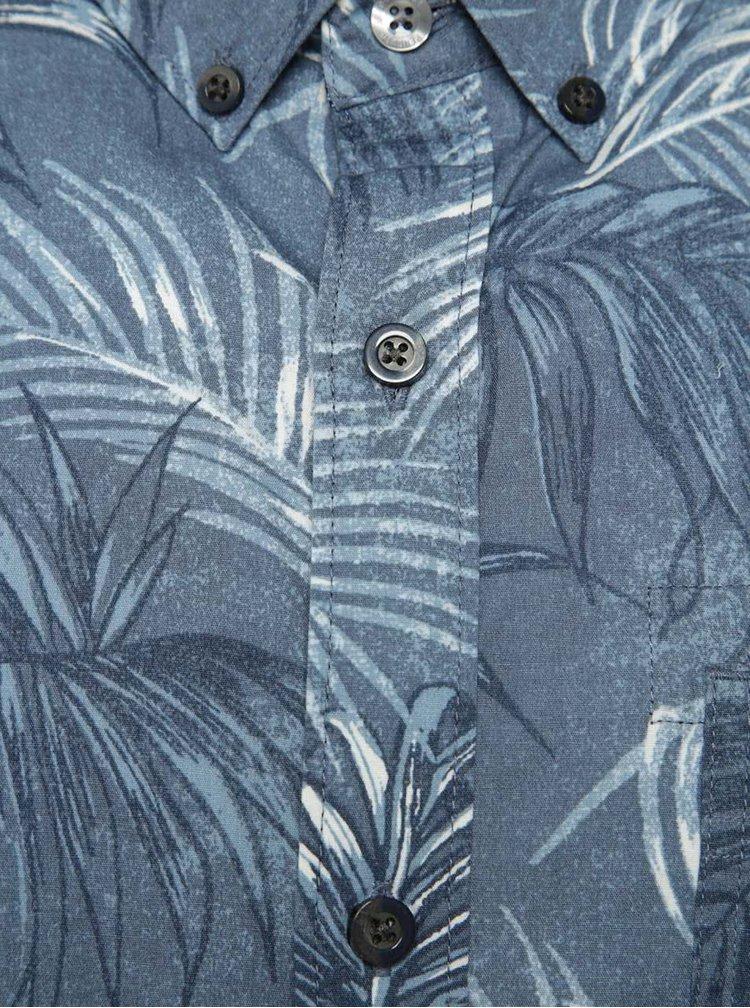Camasa albastra Original Penguin Fern din bumbac cu maneci scurte si model