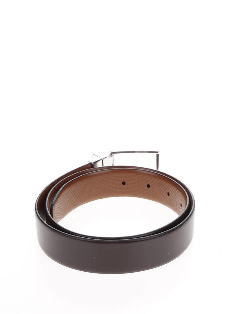 Hnědý pánský kožený pásek se sponou Tommy Hilfiger