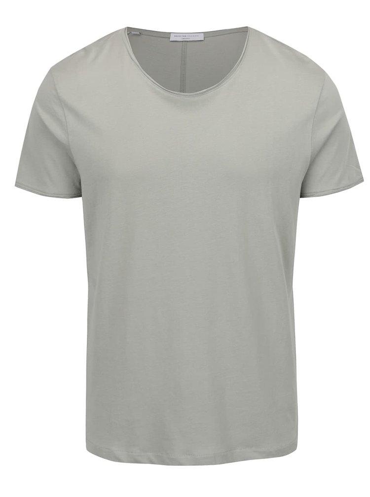 Světle zelené basic triko s krátkým rukávem Selected Homme Piper