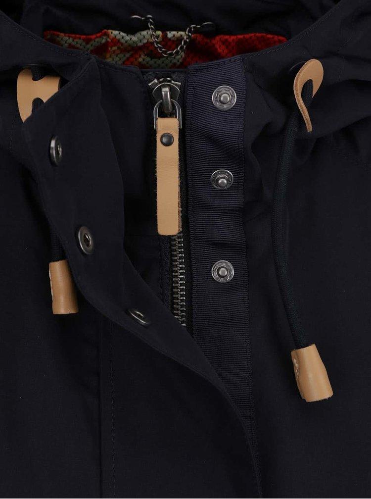 Tmavě modrá dámská krátká bunda s kapucí Geox