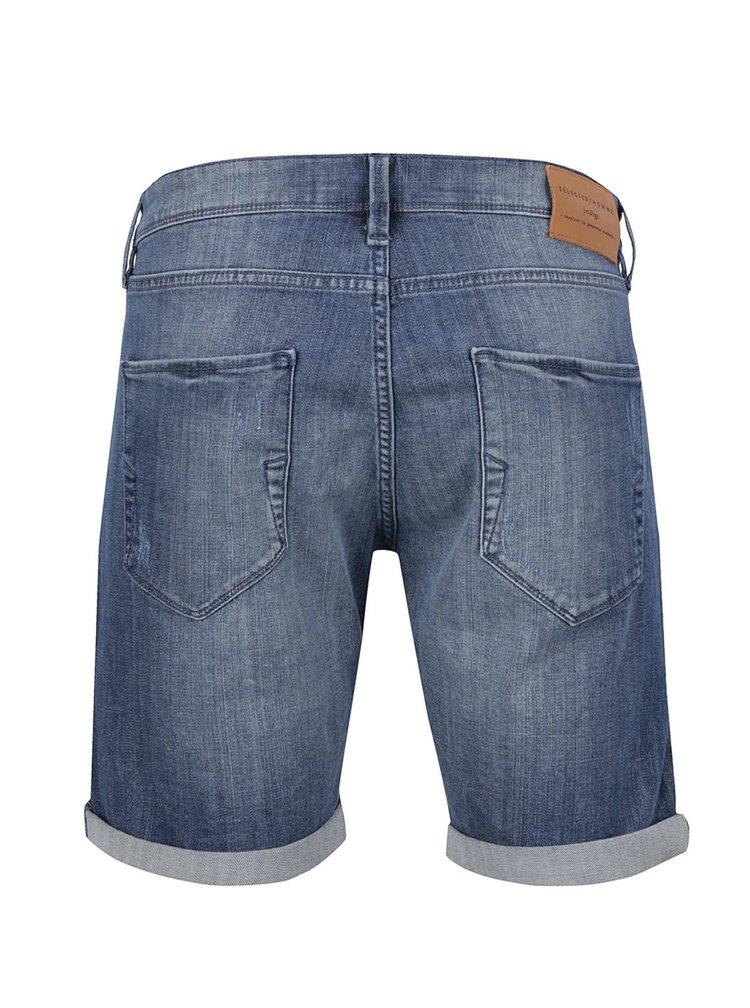 Modré džínové kraťasy s potrhaným efektem Selected Homme Alex