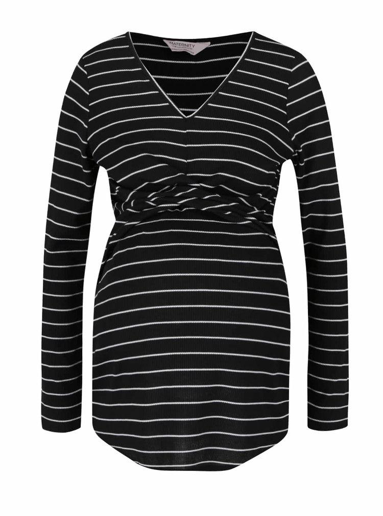 Bílo-černé pruhované těhotenské tričko Dorothy Perkins Maternity