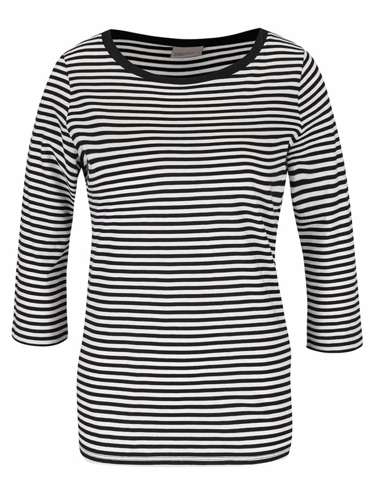 Černo-bílé pruhované tričko s 3/4 rukávem VERO MODA Marley