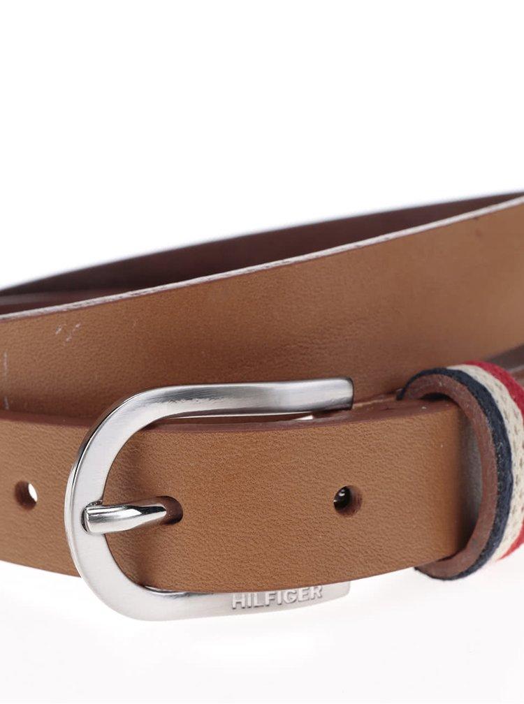 Hnědý dámský kožený pásek Tommy Hilfiger