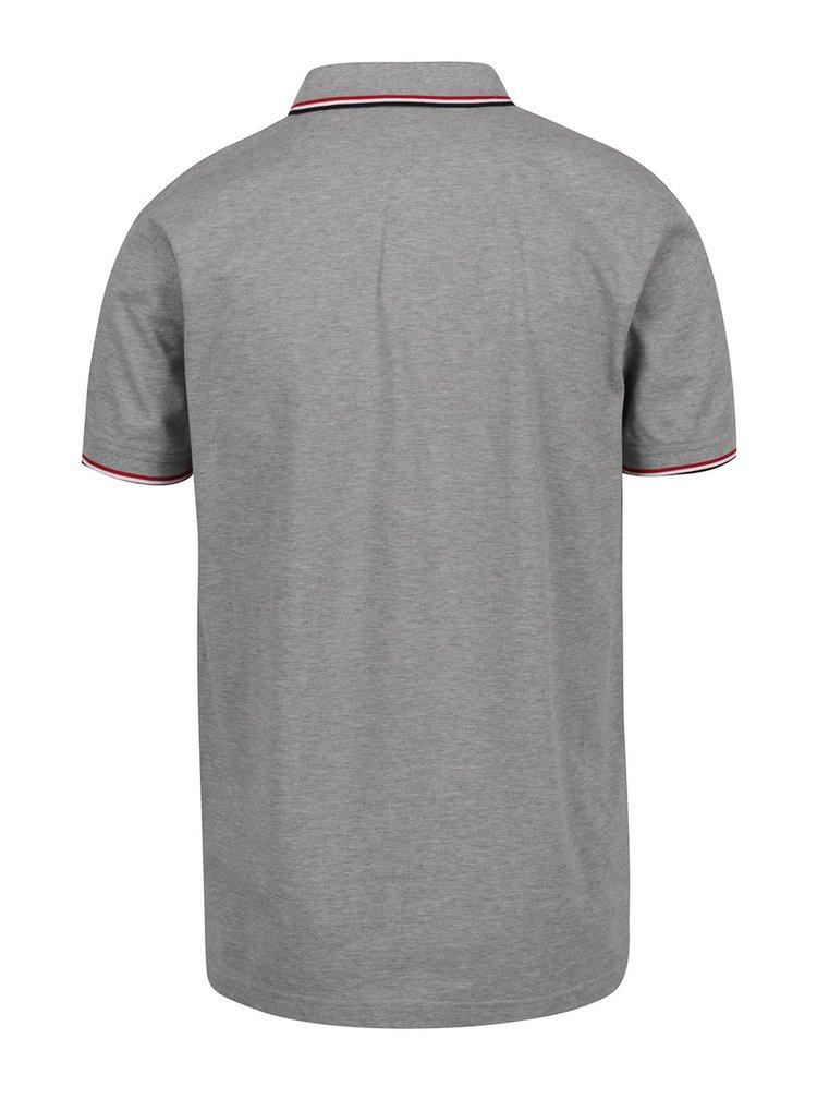 Šedé pánské polo triko s proužky Tommy Hilfiger