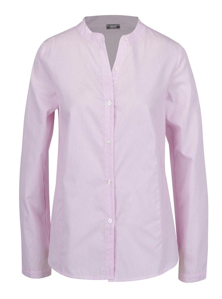 Světle růžová pruhovaná košile bez límečku ZOOT