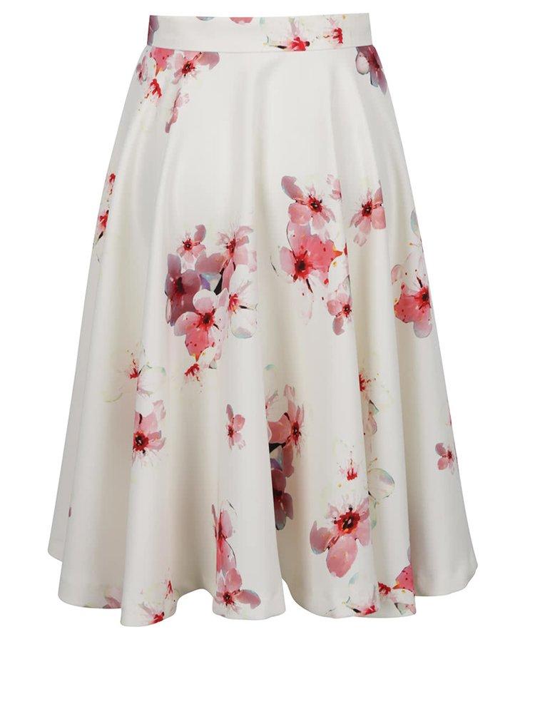 Krémová květovaná kolová sukně Pietro Filipi