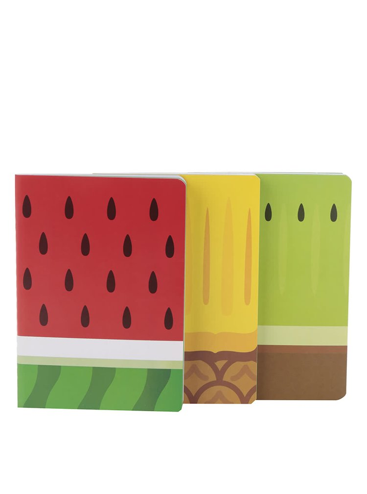 Sada tří zápisníků v červené, zelené a žluté barvě Mustard