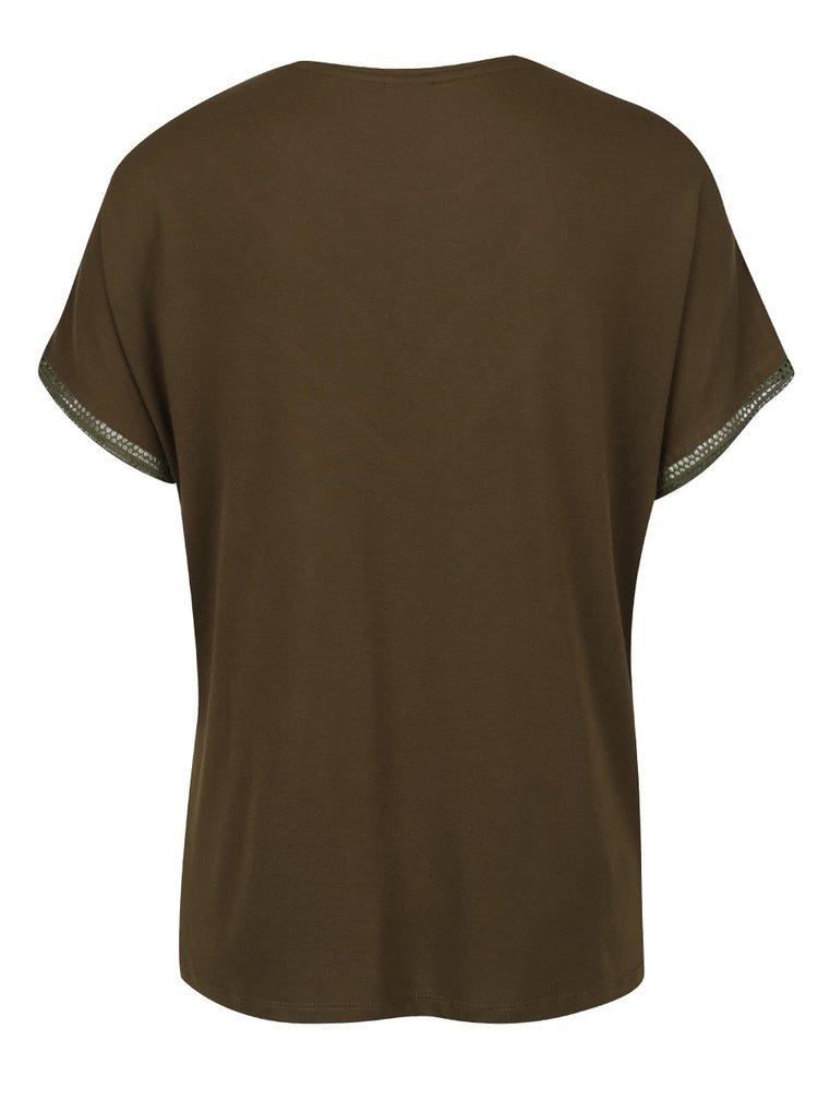 Tricou maro & verde închis Jacqueline de Yong Carly cu detaliu din dantelă