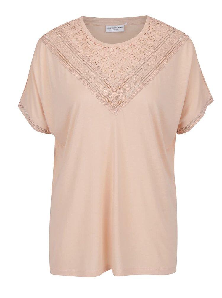 Růžové tričko s krajkou v dekoltu Jacqueline de Yong Carly