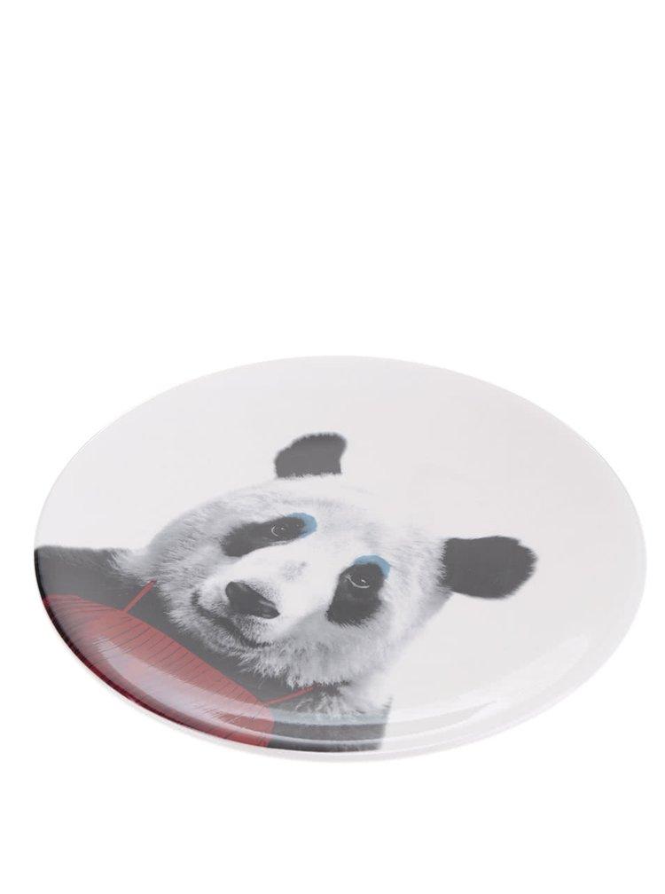 Bílý talíř s motivem pandy Mustard