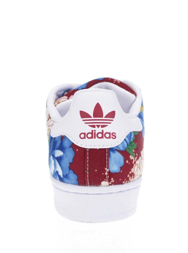 Bílo-červené dámské květované tenisky adidas Originals Superstar